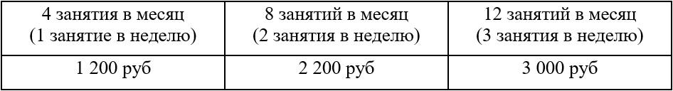 стоимость занятий 60 мин